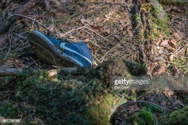 A single shoe remains at the scene of an apparent suicide in Aokigahara forest on March 13 2018 in Fujikawaguchiko Japan Aokigahara forest lies on...