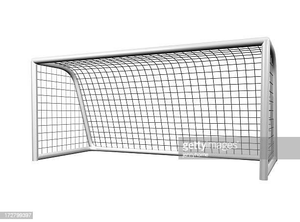 Single soccer goal net on a white background