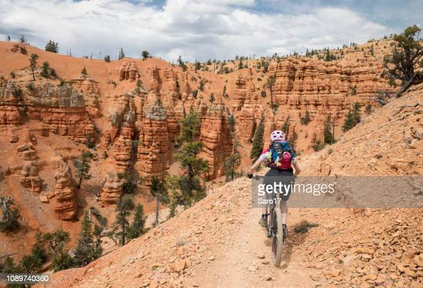 single trail mountainbiking at red canyon, utah. - cross country cycling stock pictures, royalty-free photos & images