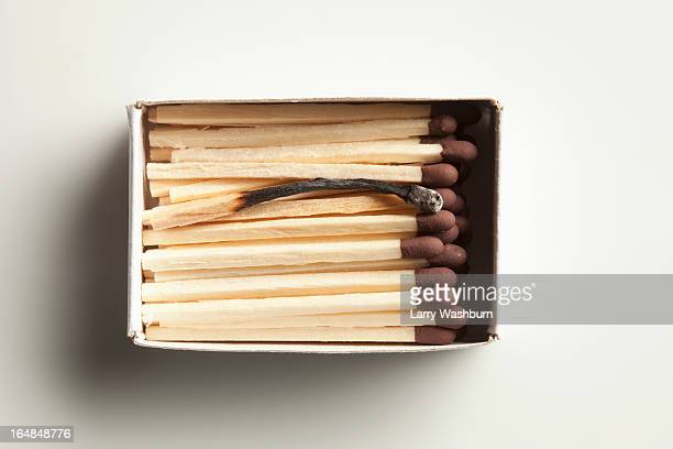 Single used match in box of unused matches