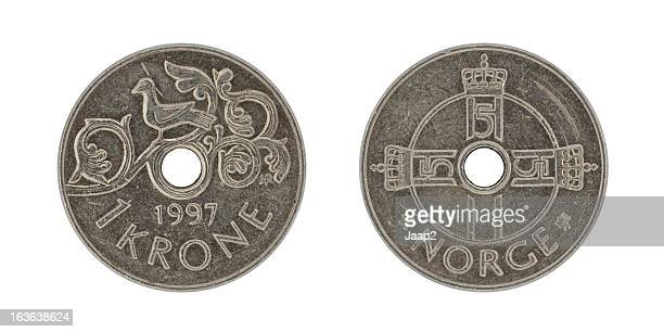 Single used Norwegian Kroner coin isolated on white, both sides