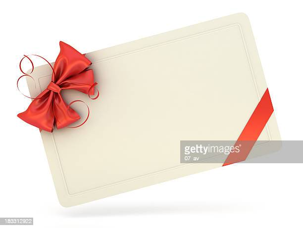 single white blank gift card with a red ribbon and bow - coupon stock photos and pictures
