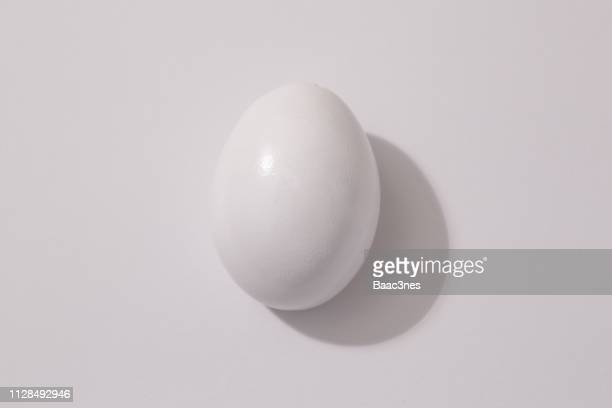 Single white egg on a white table