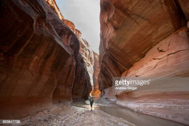 Single woman hiking with backpack through landscape of deep dramatic red rock desert slot canyon along river.