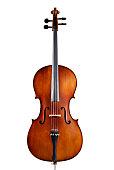 A single wooden cello on a white background