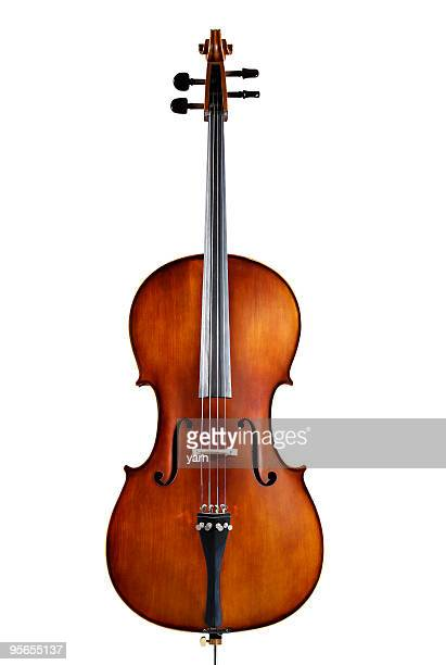 A single wooden cello on a white background