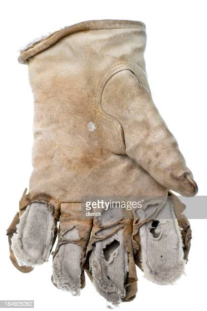 Eine abgenutzte Arbeitshandschuhe aus Leder