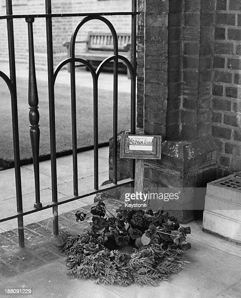 A single wreath for society osteopath Stephen Ward at Mortlake Creamatorium London 10th August 1963 Ward committed suicide on 3rd August the last day...