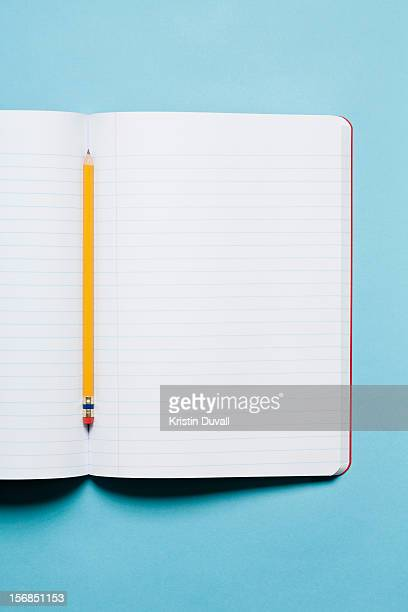 Single yellow sharpened pencil with blank composition notebook
