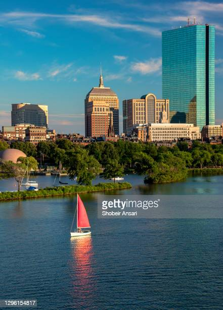 single-handed sailing in charles river, cambridge, massachusetts - cambridge massachusetts stock pictures, royalty-free photos & images