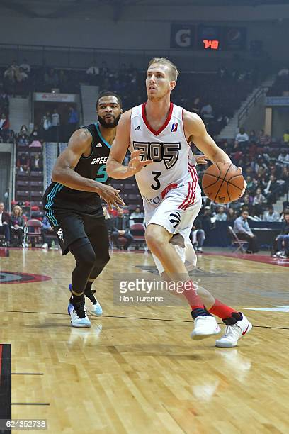 J Singler of the Raptors 905 dribbles the ball against the Greensboro Swarm on November 18 2016 at the Hershey Centre in Mississauga Ontario Canada...