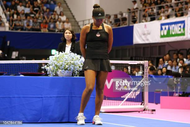 Singles runnerup Naomi Osaka of Japan shows dejection after the Singles final against Karolina Pliskova of the Czech Republic on day seven of the...