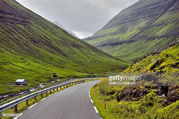 Single-track road of Eidi village of Eysturoy Island in Faeroe Islands