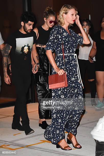 Singr Taylor SwiftGiGi Hadid and Zayn Malik are seen walking in Soho on September 12 2016 in New York City