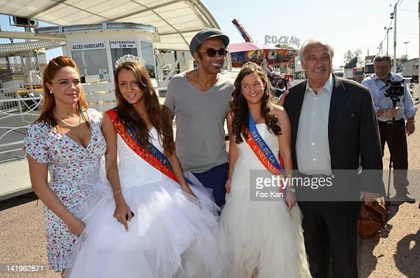 Singrid Campion Swanny Lapaumerouzie 'Miss Foire du Trone 2012' Yannick Noah Tiphaine Gratepanche 'Miss Fete Neuneu 2012' and Foire du Trone CEO...