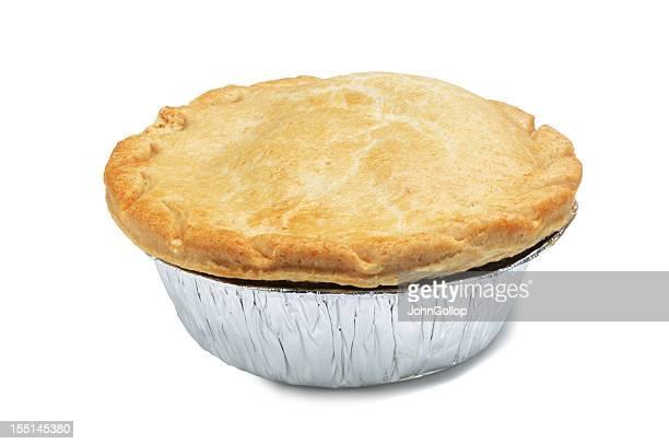 A singular pie in a foil casing
