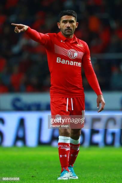 Sinha of Toluca gestures during the 10th round match between Toluca and Cruz Azul as part of the Torneo Clausura 2017 Liga MX at Nemesio Diez Stadium...