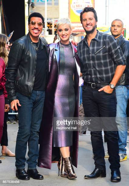 Sinher Kate Perry and Lionel Richie and Luke Bryan coming out of Good Morning America on October 4 2017 in New York City