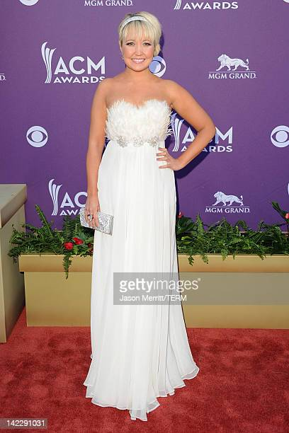 Siniger Meghan Linsey of the music group Steel Magnolia arrives at the 47th Annual Academy Of Country Music Awards held at the MGM Grand Garden Arena...