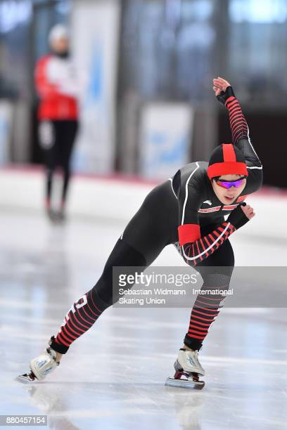 Sining Yang of China performs during the Ladies 500 Meter at the ISU Junior World Cup Speed Skating at Max Aicher Arena on November 26 2017 in Inzell...