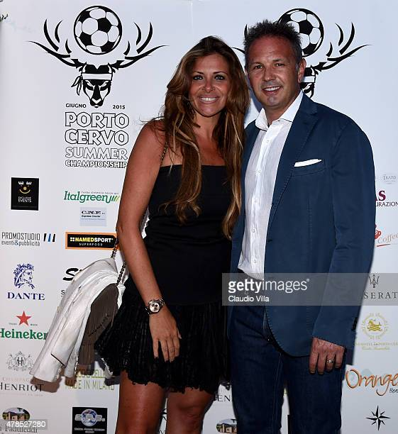 Sinisa Mihajlovic and Arianna Mihajlovic attend the Porto Cervo Summer 2015 Dinner Fiveaside Football Tournament Day One on June 25 2015 in Porto...