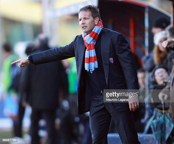 Sinisa Mihajlovic coach of Catania Calcio gestures during the Serie A match between Catania Calcio and Atalanta BC at Stadio Angelo Massimino on...