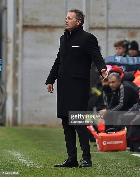 Sinisa Mihajlovic head coach of AC Milan during the Serie A match between US Sassuolo Calcio and AC Milan at Mapei Stadium Città del Tricolore on...