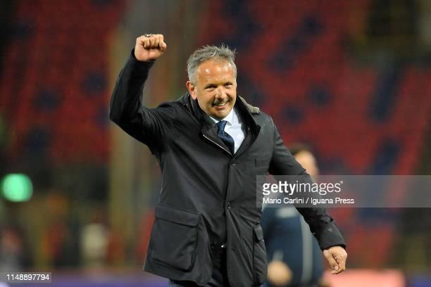 Sinisa Mihajlovic head coach of Bologna FC celebrates at the end of the Serie A match between Bologna FC and Parma Calcio at Stadio Renato Dall'Ara...