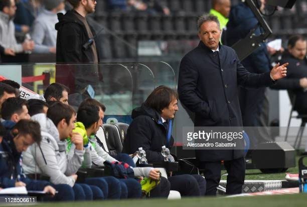 Sinisa Mihajlovic head coach of Bologna FC gestures during the Serie A match between Udinese and Bologna FC at Stadio Friuli on March 3 2019 in Udine...