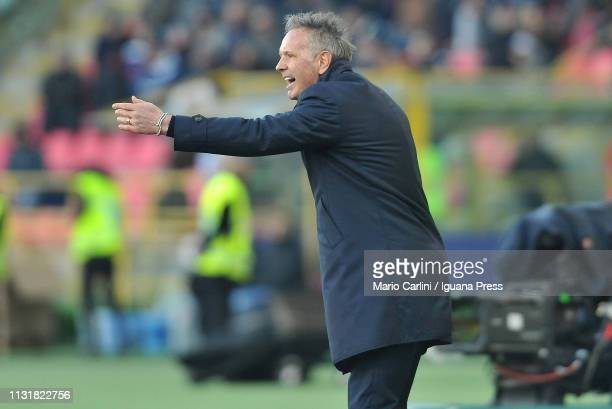 Sinisa Mihajlovic head coach of Bologna FC gestures during the Serie A match between Bologna FC and Juventus at Stadio Renato Dall'Ara on February 23...