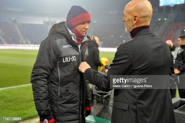 Sinisa Mihajlovic head coach of Bologna FC gestures prior the beginning of the Serie A match between Bologna FC and AC Milan at Stadio Renato...