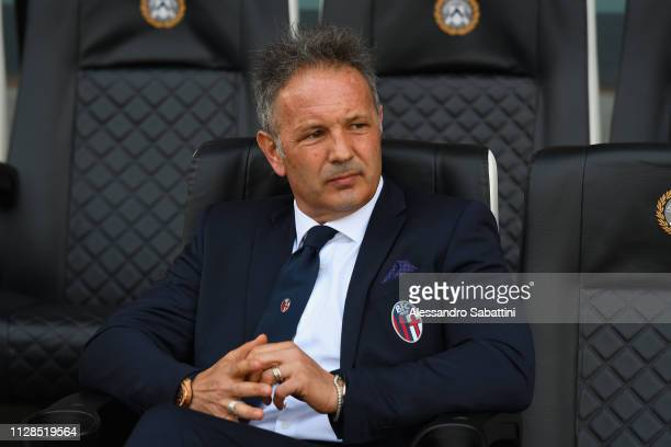 Sinisa Mihajlovic head coach of Bologna FC looks on during the Serie A match between Udinese and Bologna FC at Stadio Friuli on March 3 2019 in Udine...