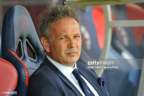 Sinisa Mihajlovic head coach of Bologna FC looks on prior the beginning of the Serie A match between Bologna FC and Cagliari at Stadio Renato...