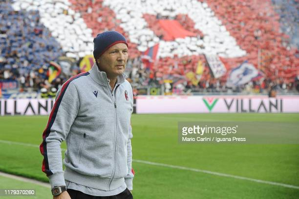 Sinisa Mihajlovic head coach of Bologna FC looks on prior the beginning of the Serie A match between Bologna FC and SS Lazio at Stadio Renato...