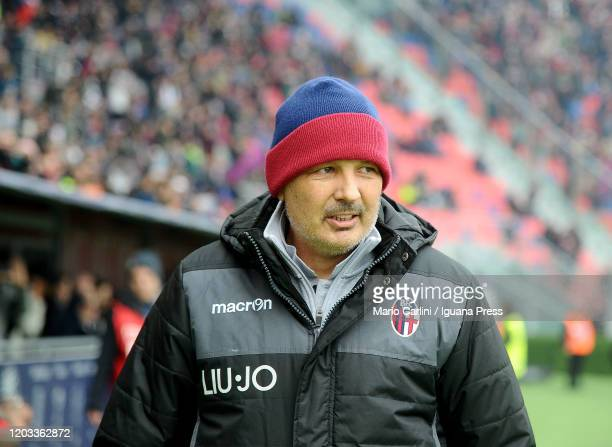 Sinisa MIhajlovic head coach of Bologna FC looks on prior the beginning of the Serie A match between Bologna FC and Brescia Calcio at Stadio Renato...