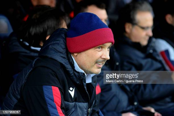 Sinisa Mihajlovic head coach of Bologna FC looks on prior the beginning of the Serie A match between Bologna FC and Udinese Calcio at Stadio Renato...