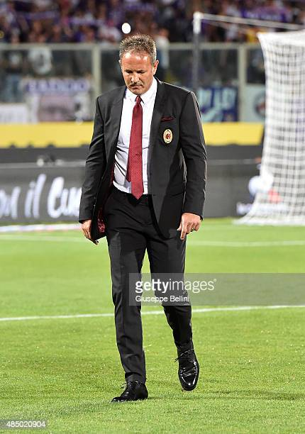 Sinisa Mihajlovic head coach of Milan before the Serie A match between ACF Fiorentina and AC Milan at Stadio Artemio Franchi on August 23 2015 in...