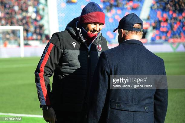 Sinisa Mihajlovic hed coach of Bologna FC looks on prior the beginning of the Serie A match between Bologna FC and ACF Fiorentina at Stadio Renato...