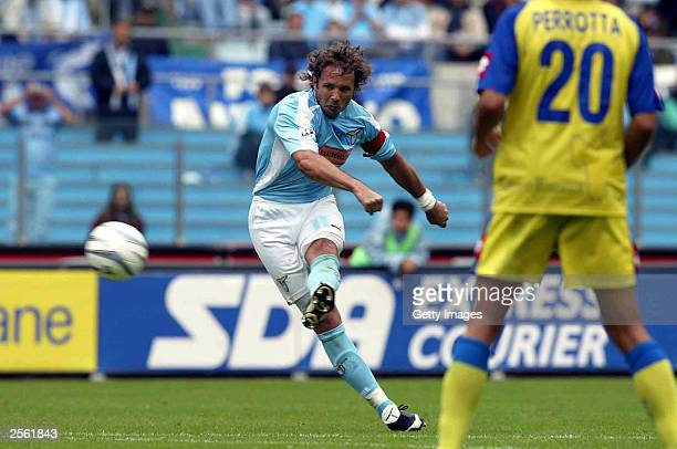 Sinisa Mihajlovic of Lazio scores during the Serie A match between Lazio and Chievo at the Olympic Stadium October 5, 2003 in Rome, Italy.