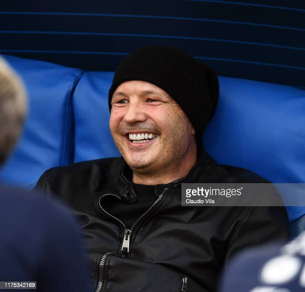 Sinisa Mihajlovic smiles during the Italy training session at Stadio Olimpico on October 11 2019 in Rome Italy