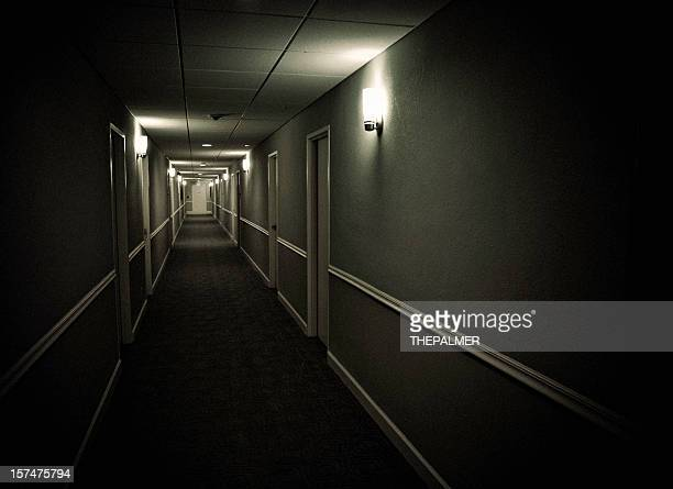sinister corridor - horror movie stock photos and pictures