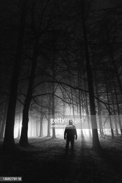 sinister silhouette man lurking in the shadows - murderer stock pictures, royalty-free photos & images