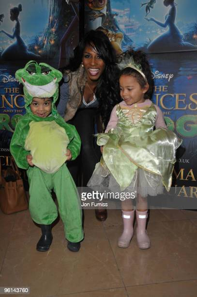 Sinitta and her children Zac and Magdalena attends The Princess And The Frog special event at The Mayfair Hotel on January 24 2010 in London England