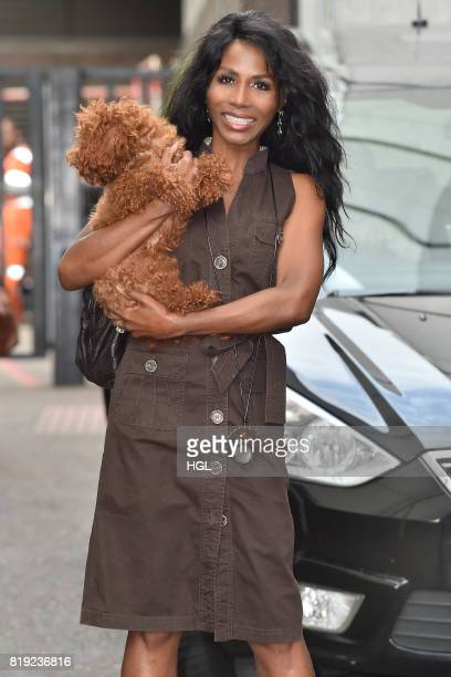 Sinitta and her dog scarlet seen at the ITV studios on July 20 2017 in London England