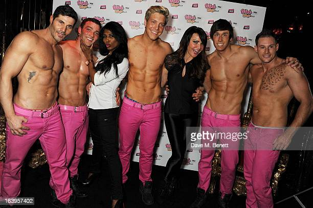 Sinitta and Lizzie Cundy pose with The Dream Idols at Wink Bingo's Gentle Woman's Night featuring a performance from The Dream Idols at Peter...