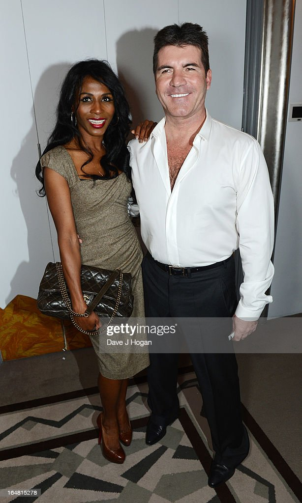 Sinitta and Simon Cowell attend the Health Lottery champagne tea at Claridges on March 28, 2013 in London, England.