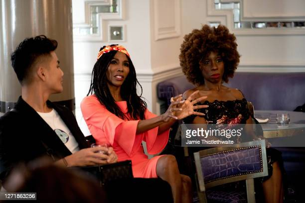 """Sinitta asks a question to the Cast and Crew panel during the """"Henpire"""" podcast launch event at Langham Hotel on September 10, 2020 in London,..."""