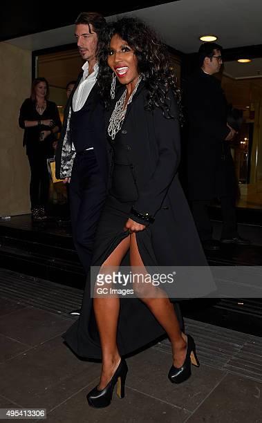 Sinitta eaves Grosvenor Hotel after the Music Industry Trusts Awards on November 2 2015 in London England