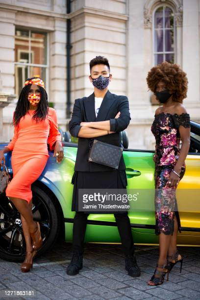 """Sinitta, Heather Small and Vincent Wong pose with the rainbow Bentley during the """"Henpire"""" podcast launch event at Langham Hotel on September 10,..."""