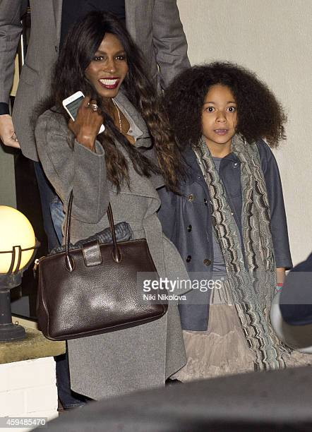 Sinitta is seen leaving 'The X Factor' held at Fountain Studios Wembley on November 23 2014 in London England